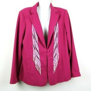 Bob Mackie Womens Blazer Long Sleeve Pockets Pink